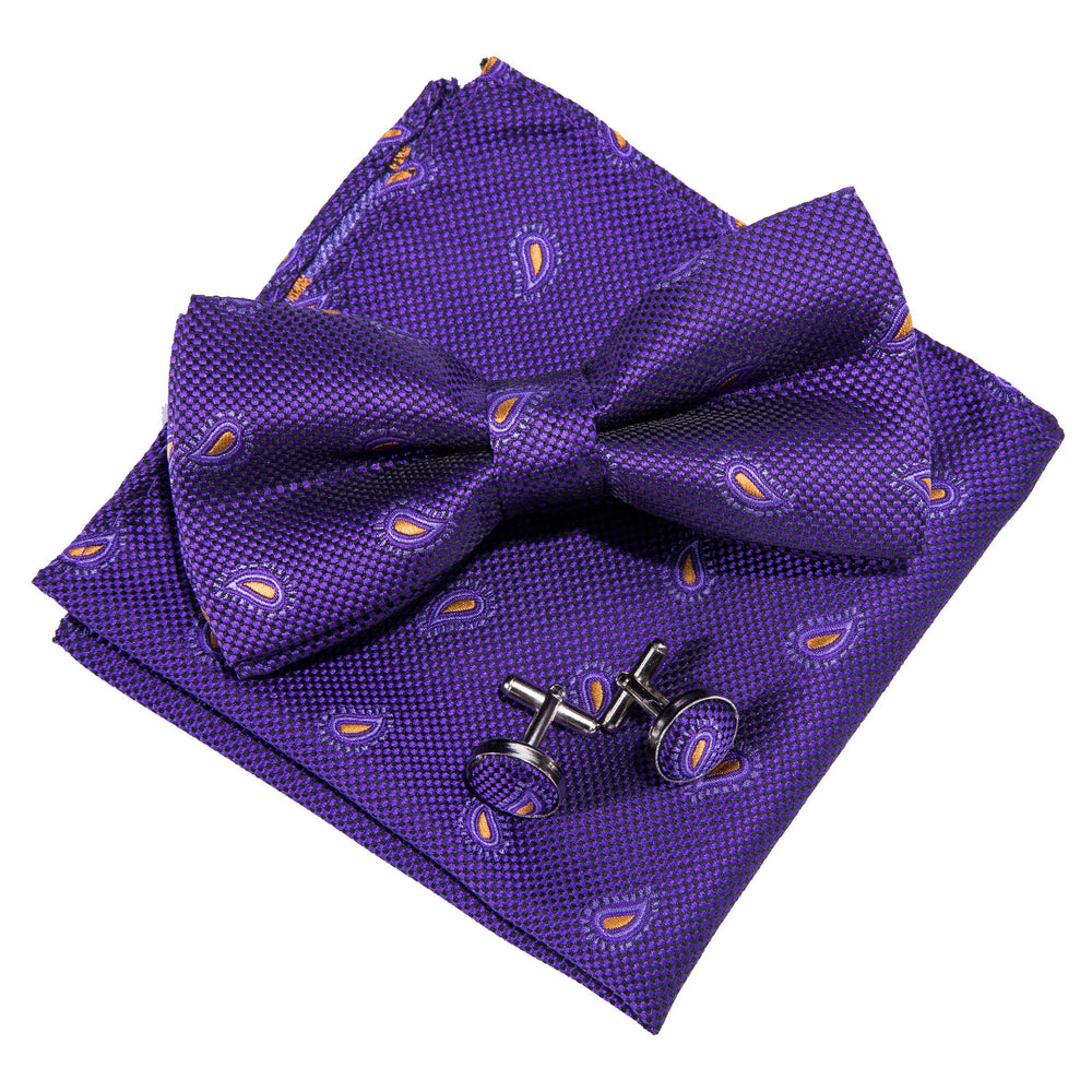 Load image into Gallery viewer, Royal Purple Paisley Silk Bowtie Pocket Square Cufflinks Set (1933795196970)
