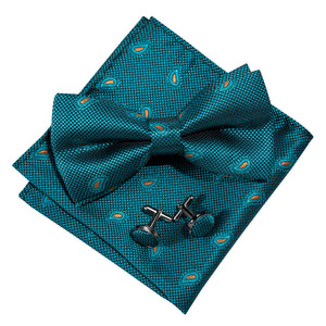 Load image into Gallery viewer, Teal Blue Paisley Silk Bowtie Pocket Square Cufflinks Set