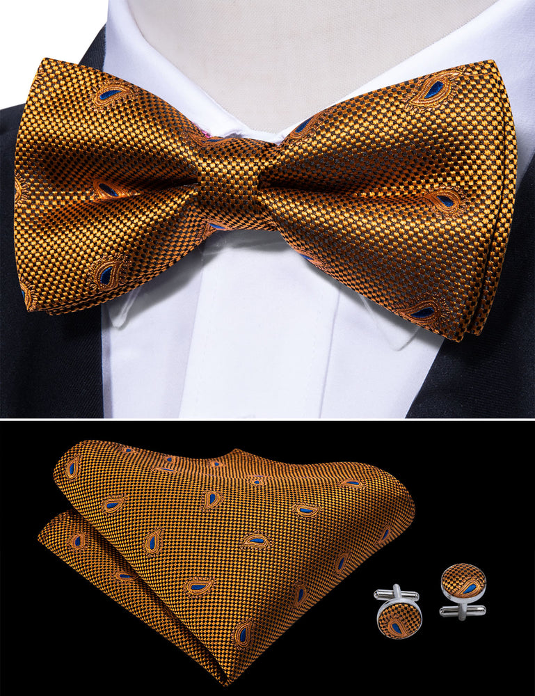 Yellow Brown Paisley Silk Bowtie Pocket Square Cufflinks Set (1933797097514)
