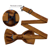 Yellow Brown Paisley Silk Bowtie Pocket Square Cufflinks Set