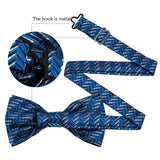 Blue White Striped Silk Bowtie Pocket Square Cufflinks Set