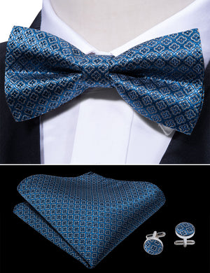 Load image into Gallery viewer, Awesome Blue Plaid Silk Bowtie Pocket Square Cufflinks Set (1933800833066)
