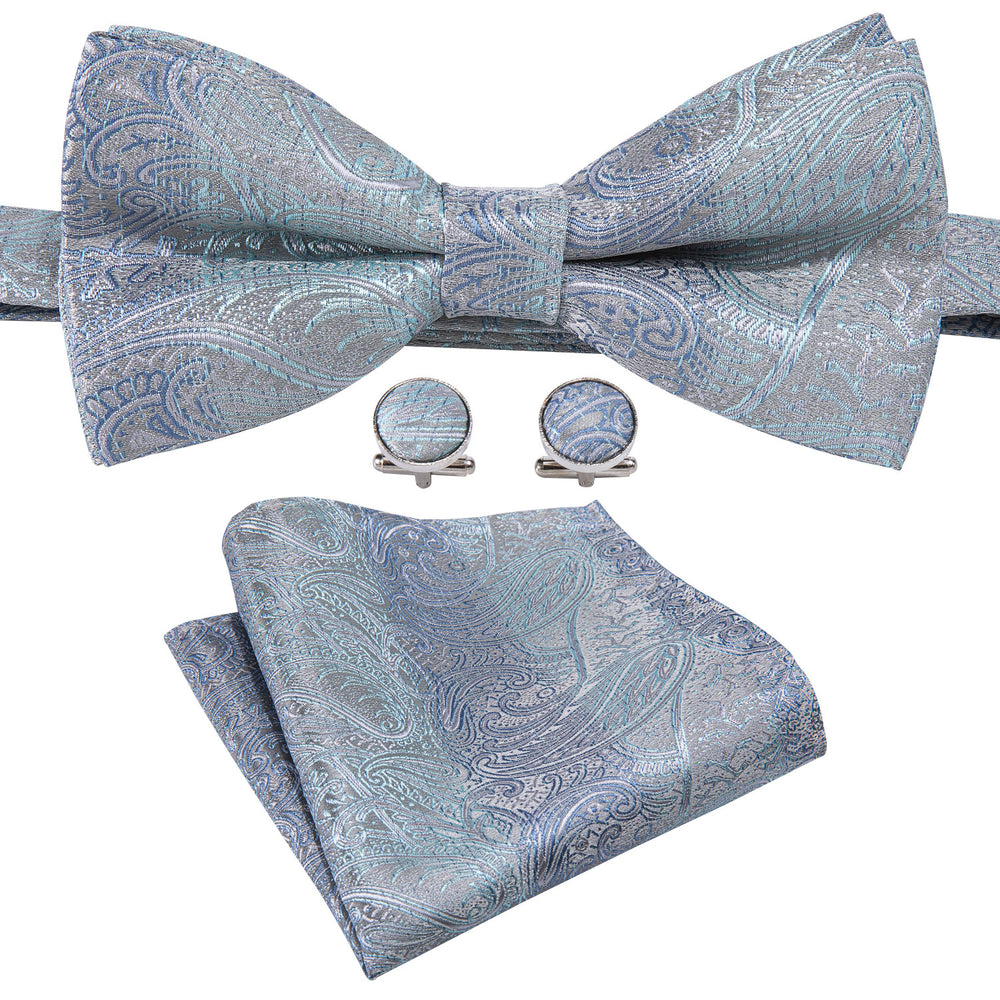 Ivory Blue Paisley Silk Bowtie Pocket Square Cufflinks Set (1933801914410)