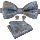 Shining Blue Gold Paisley Silk Bowtie Pocket Square Cufflinks Set