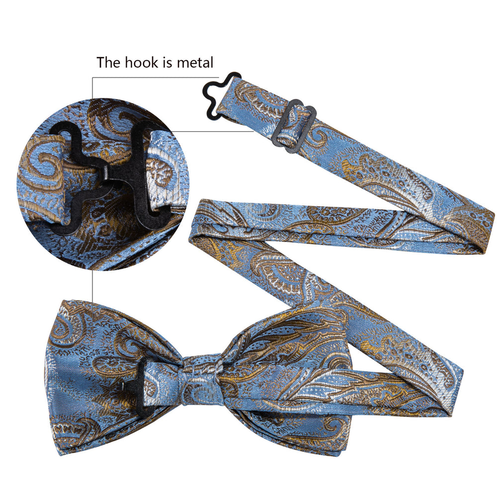 Load image into Gallery viewer, Shining Blue Gold Paisley Silk Bowtie Pocket Square Cufflinks Set (1933802045482)