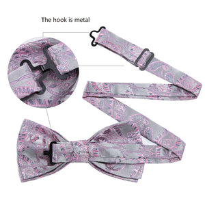 Pink Grey Paisley Silk Bowtie Pocket Square Cufflinks Set (1933802209322)