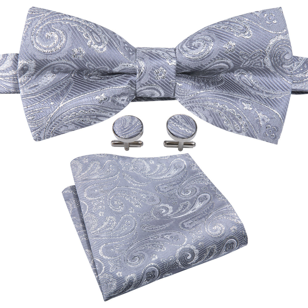 Classic Grey Paisley Silk Bowtie Pocket Square Cufflinks Set