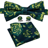 Green Yellow Floral Bowtie Pocket Square Cufflinks Set
