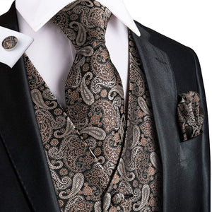 Load image into Gallery viewer, Brown Black Paisley Jacquard Silk Waistcoat Vest Handkerchief Cufflinks Tie Vest Suit Set