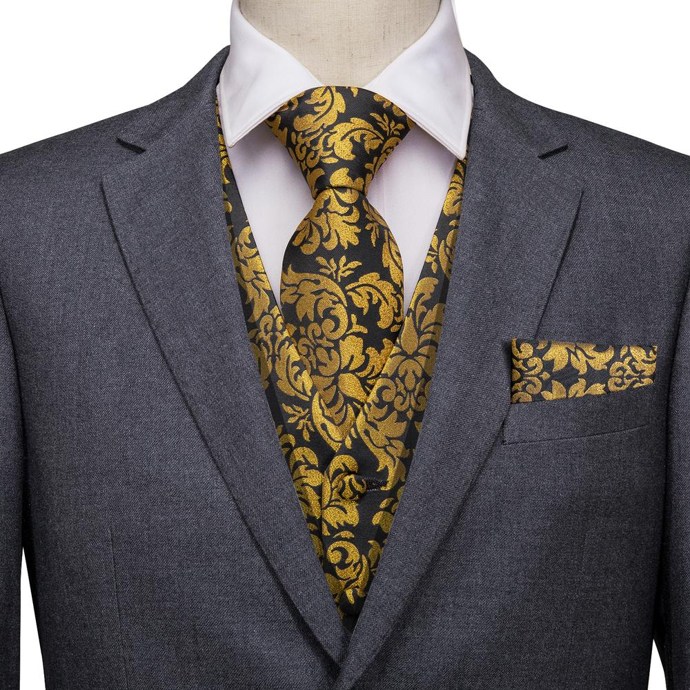 Load image into Gallery viewer, Yellow Black Floral Jacquard Silk Waistcoat Vest Handkerchief Cufflinks Tie Vest Suit Set (3830230974506)