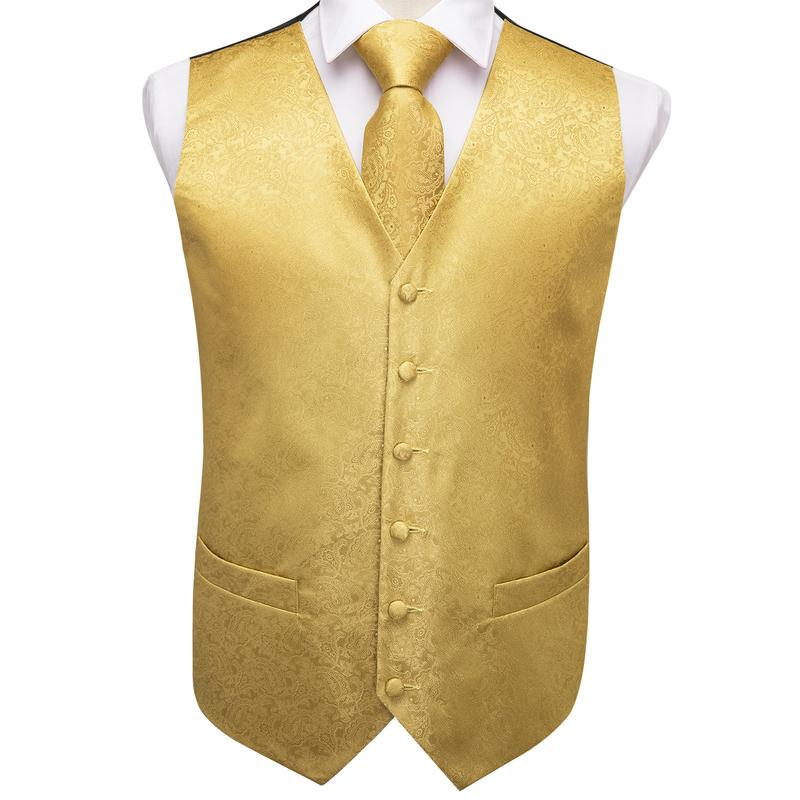 Load image into Gallery viewer, Gold Yellow Paisley Jacquard Silk Waistcoat Vest Handkerchief Cufflinks Tie Vest Suit Set