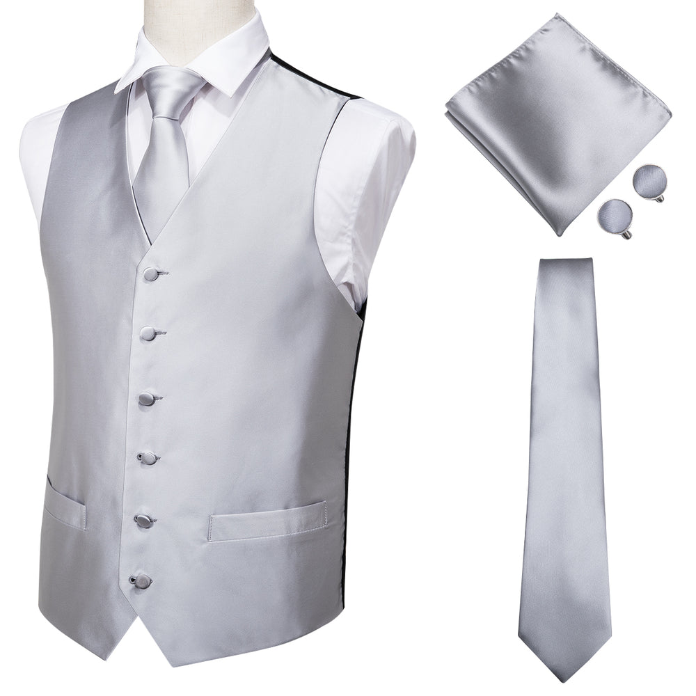 Men's Classic Grey Solid Jacquard Vest Handkerchief Cufflinks Tie  Set