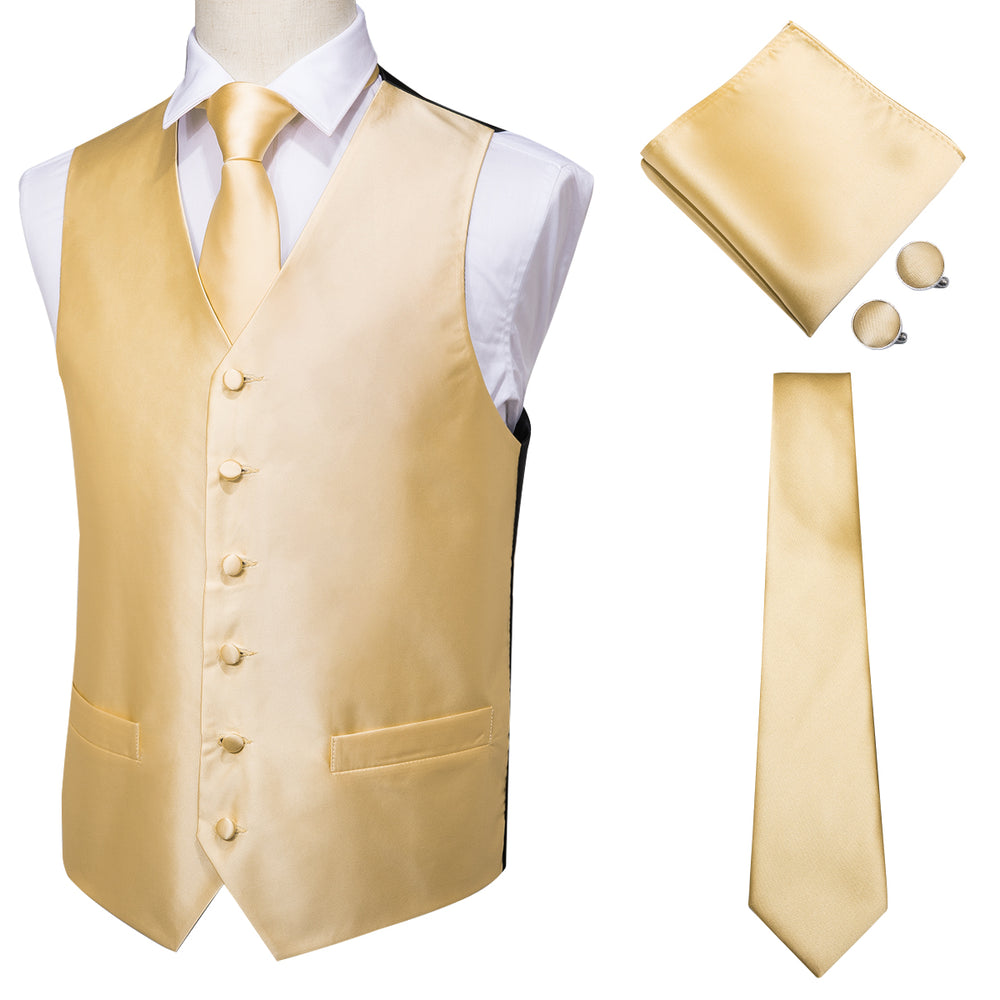 Men's Classic Yellow Solid Jacquard Vest Handkerchief Cufflinks Tie Set (1930943889450)