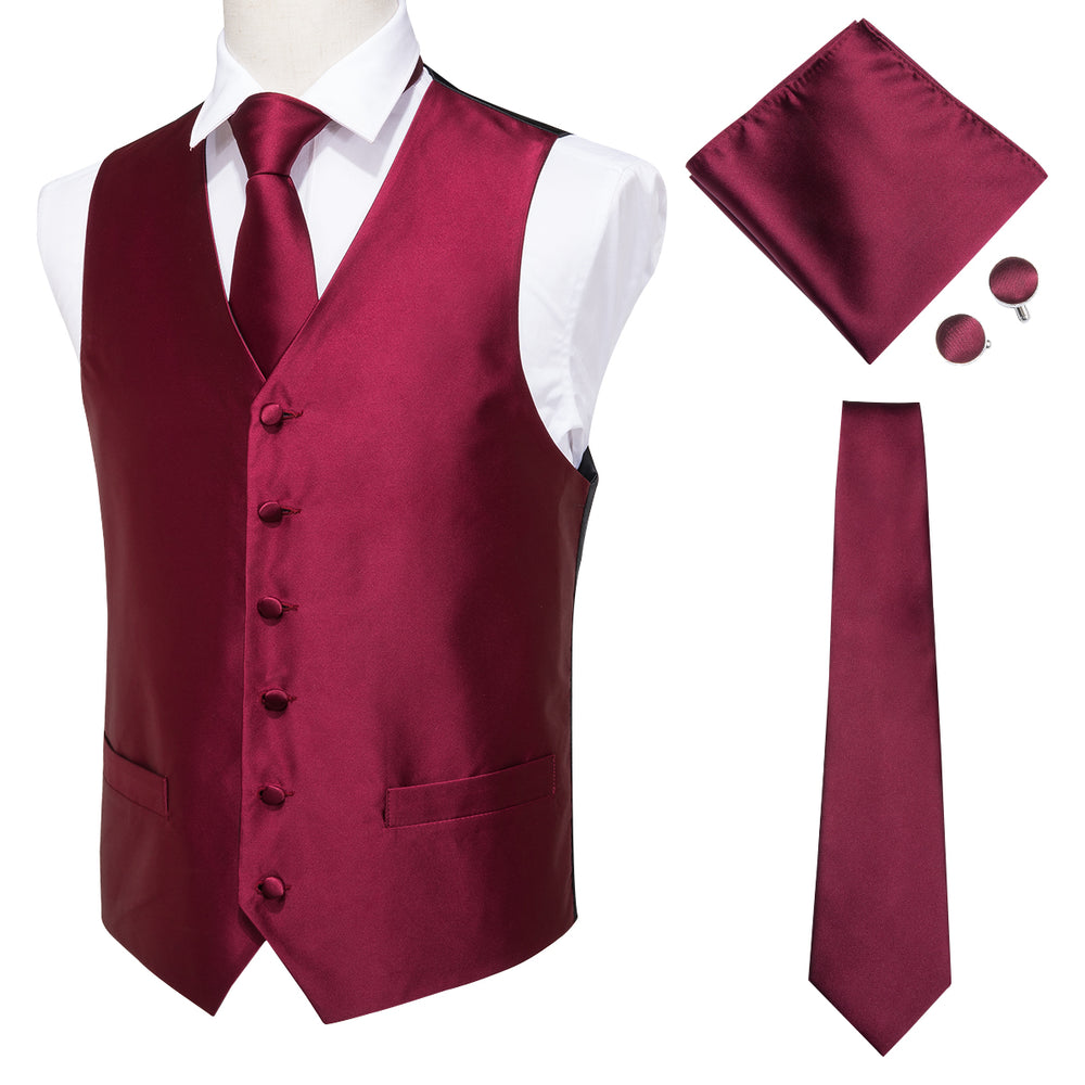 Men's Classic Red Solid Jacquard Vest Handkerchief Cufflinks Tie Set