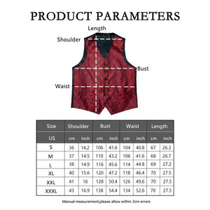 Load image into Gallery viewer, Men's Classic Deep Red Paisley Jacquard Silk Waistcoat Vest Handkerchief Cufflinks Tie Vest Suit Set