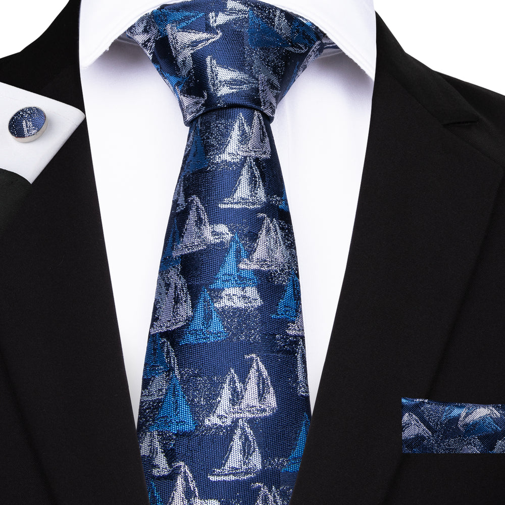 Men's Blue sailboat Tie Set
