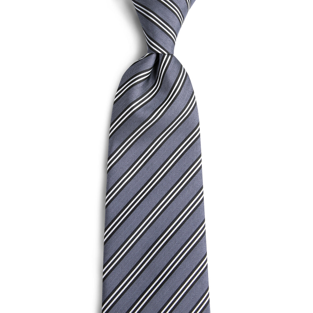 Load image into Gallery viewer, Men's White Grey striped Silk Tie Set (1760793296938)
