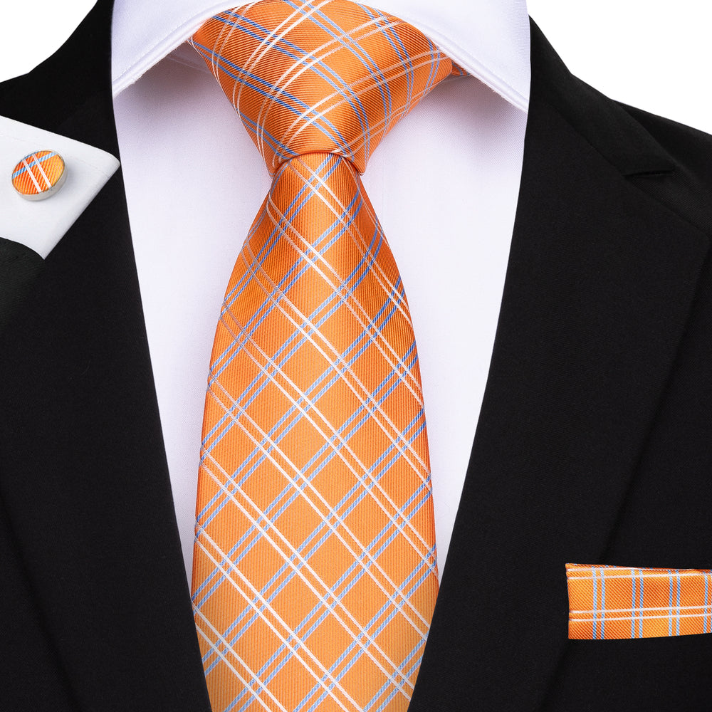 Beautiful  Orange Plaid Men's Tie Pocket Square Cufflinks Set