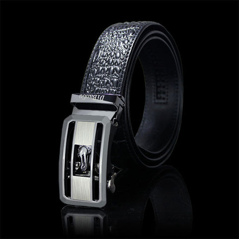 Classic Crocodile  Automatic Buckle Brown Leather Belt