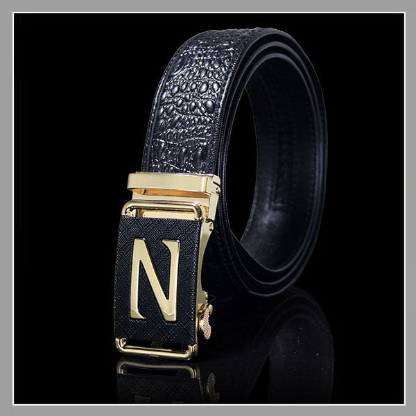 Letter Automatic Buckle Brown Leather Belt