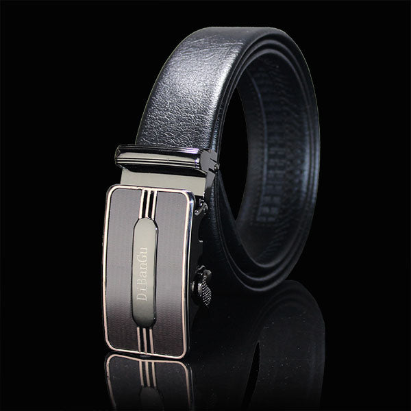 Novelty Automatic Buckle Black Leather Belt