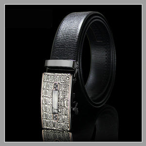 Wise Automatic Buckle Black Leather Belt