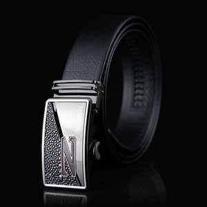 Gentleman Automatic Buckle Brown Leather Belt (3931734474794)