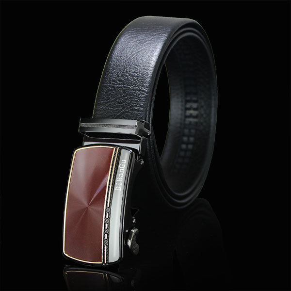 Red Automatic Buckle Brown Leather Belt