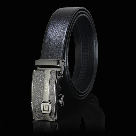 Gold Automatic Buckle Brown Leather Belt