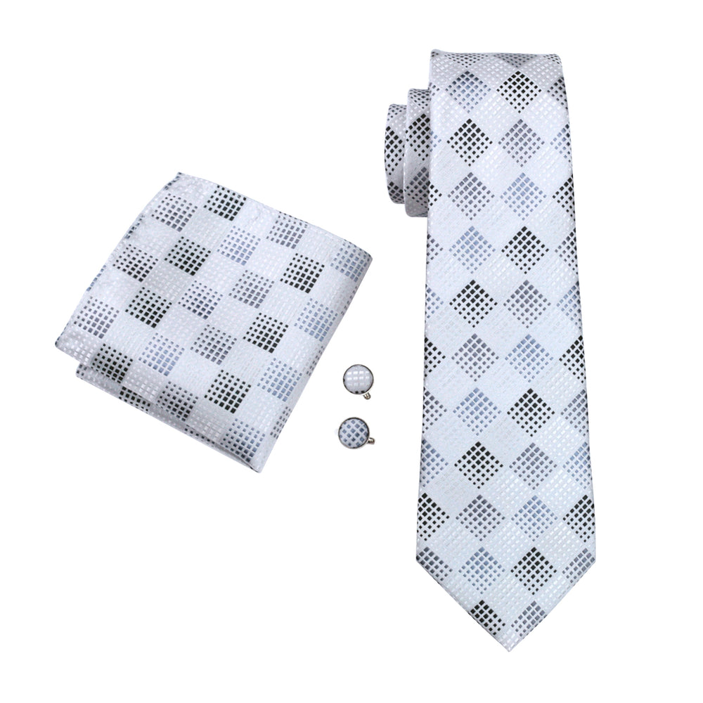 Pearl White Plaid Tie Pocket Square Cufflinks Set