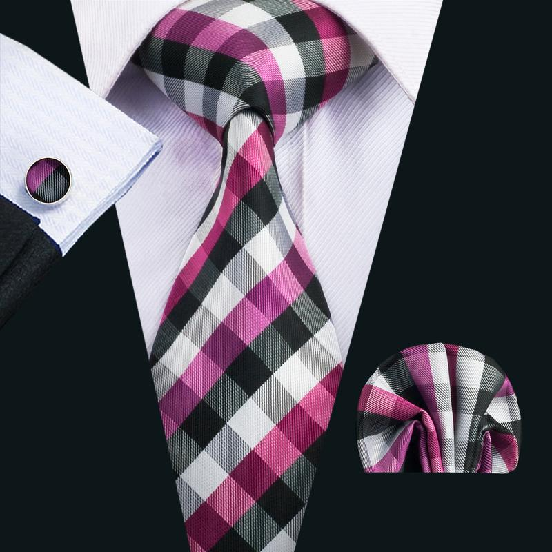 Load image into Gallery viewer, Purple Black Plaid Men's Tie Pocket Square Cufflinks Set (1918156832810)
