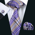 Purple Plaid Tie Pocket Square Cufflinks Set