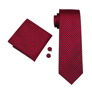 Load image into Gallery viewer, Red White Plaid Men's Tie Pocket Square Cufflinks Set