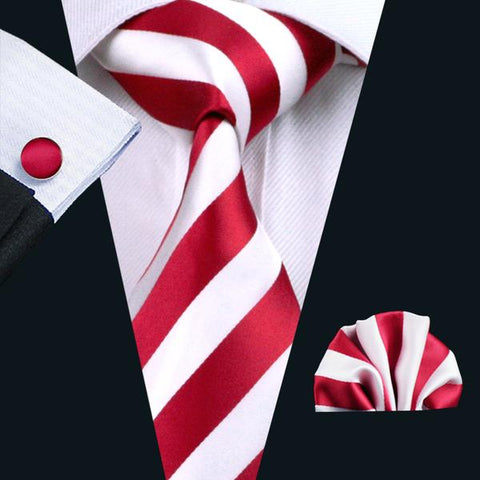 Red Striped Tie Handkerchief Cufflinks Set