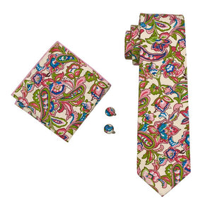 Load image into Gallery viewer, Green Pink Floral Men's Tie Pocket Square Cufflinks Set (1918129864746)