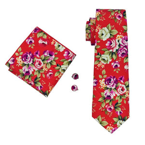 Load image into Gallery viewer, Red Purple Floral Men's Tie Pocket Square Cufflinks Set
