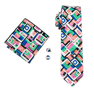 Load image into Gallery viewer, Black Green Novelty Mens Tie Pocket Square Cufflinks Set