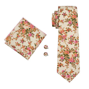 Yellow Floral Mens Tie Pocket Square Cufflinks Set (1911134748714)