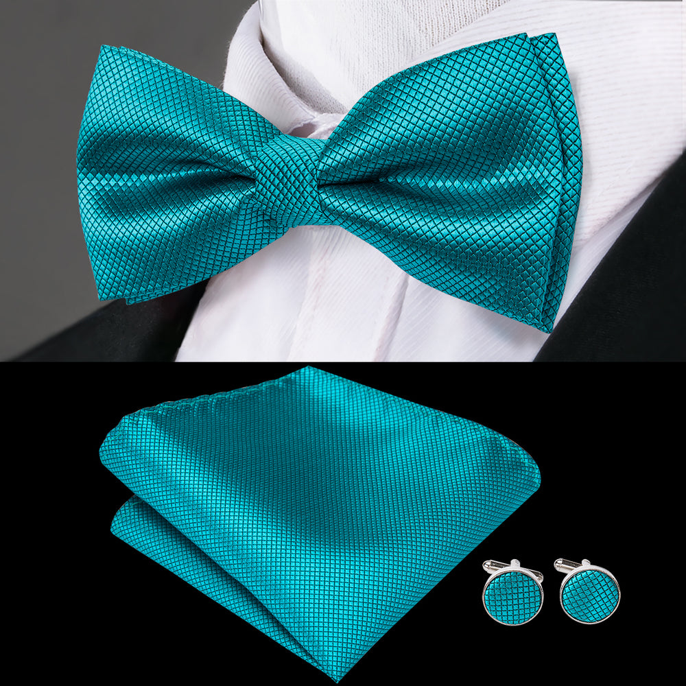 Teal Green Solid Bowtie Pocket Square Cufflinks Set