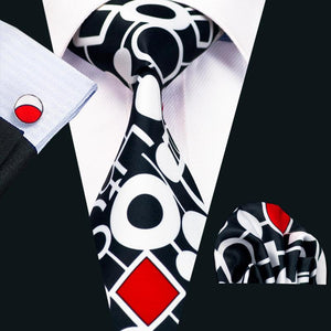 Black White Novelty Men's Tie Pocket Square Cufflinks Set
