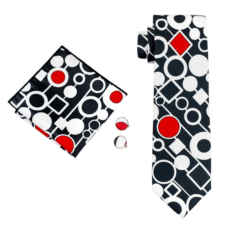 Load image into Gallery viewer, Black White Novelty Men's Tie Pocket Square Cufflinks Set