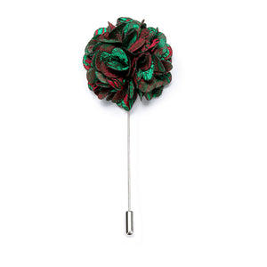 Novelty Green Burgundy  Floral Lapel Pin