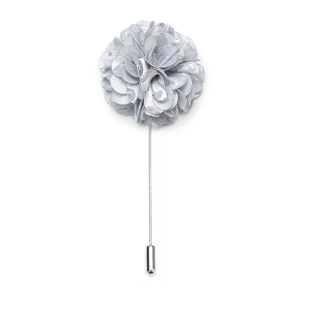Luxury Silver Floral Lapel Pin