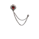 New Silver Luxury Ruby Metal Chain Lapel Pin