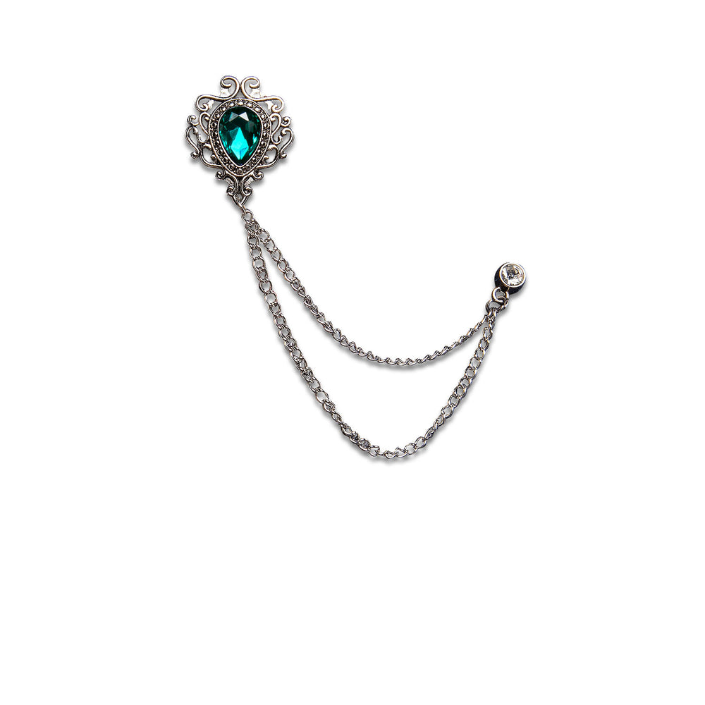 New Silver Luxury Emerald Metal Chain Lapel Pin