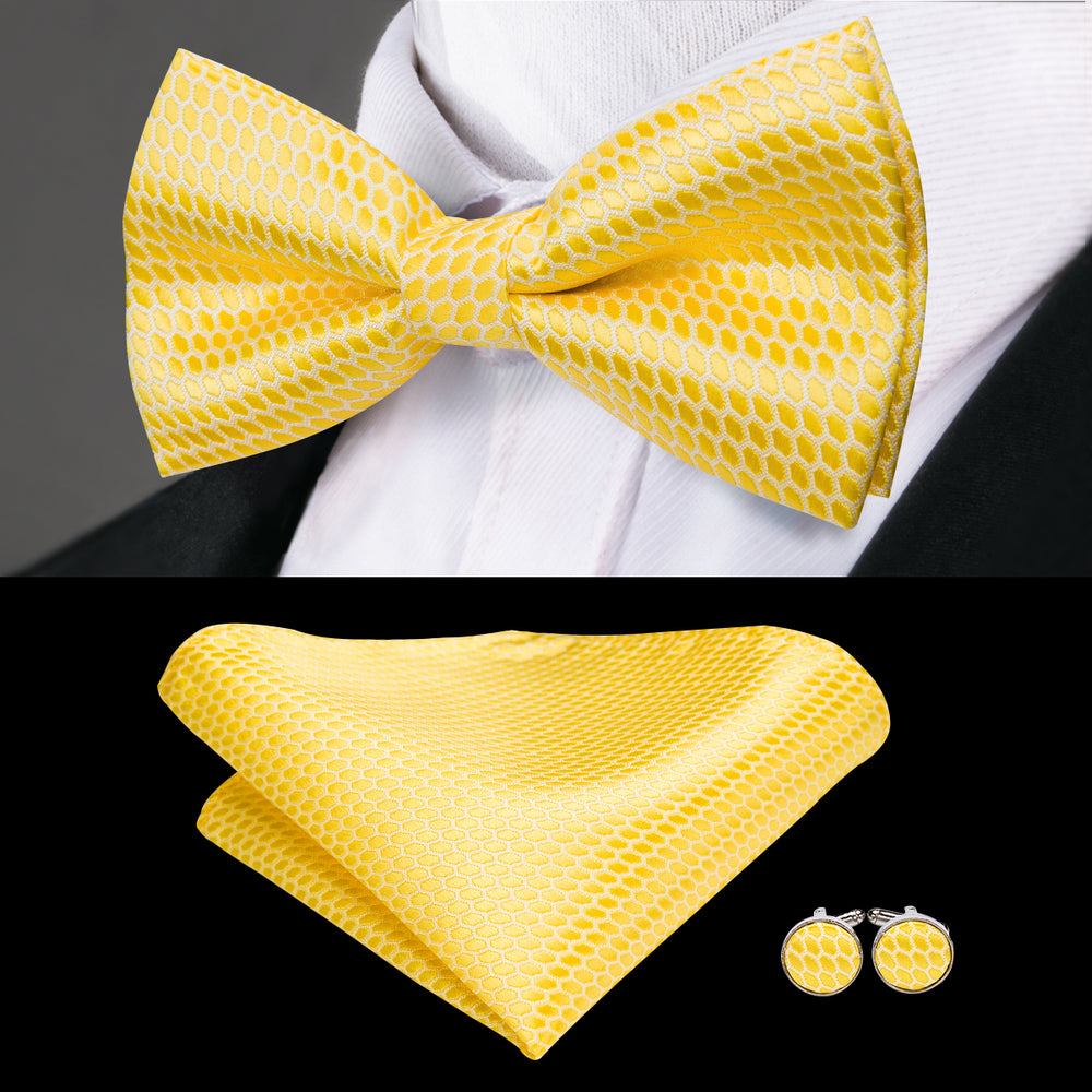 Yellow Solid Bowtie Pocket Square Cufflinks Set
