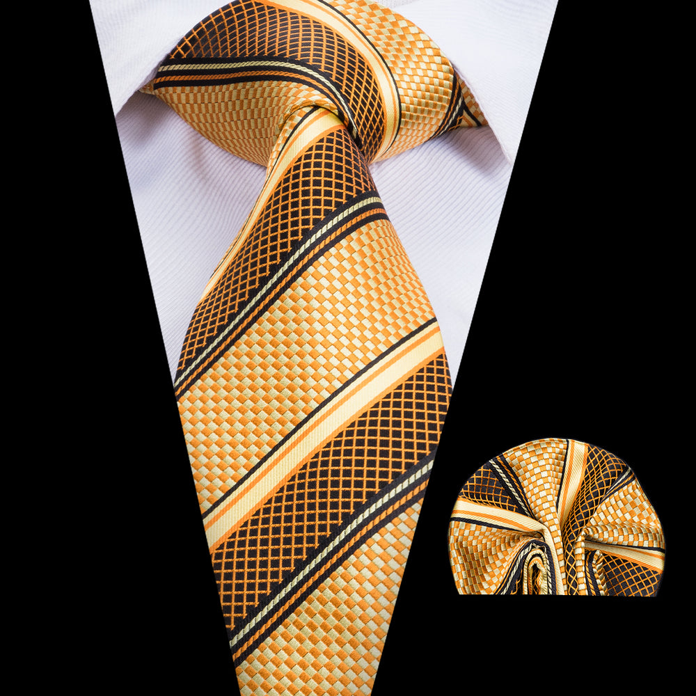 Yellow Striped Necktie Pocket Square Set