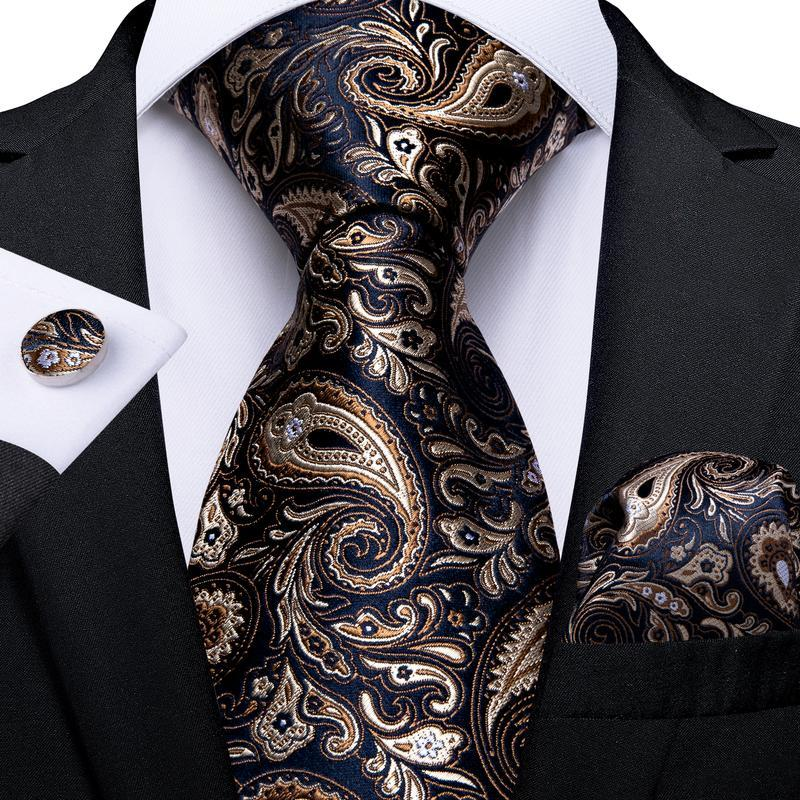 Gold Blue Paisley Floral Tie Pocket Square Cufflinks Set (3953456283690)