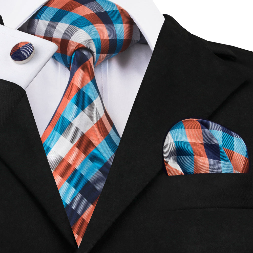 Attractive Orange Blue Plaid Necktie Pocket Square Cufflinks Set