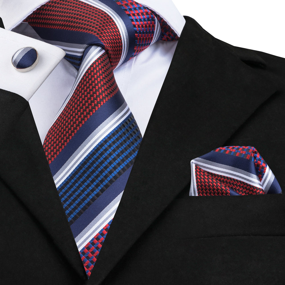 Gorgeous Blue Red Striped Tie Hanky Cufflinks Set